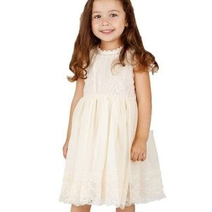 Bow Dream Ivory Off White Lace Vintage Flower Girl